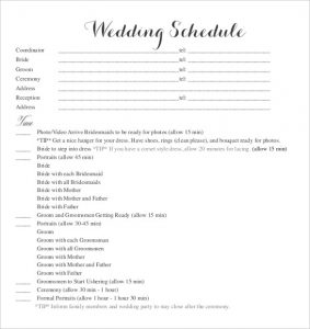 wedding schedule template blank wedding schedule template for download