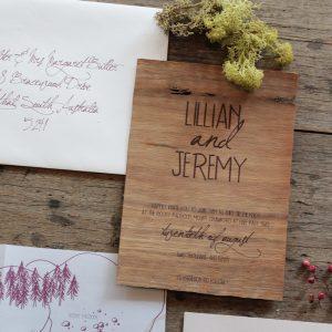 wedding script font earthy wood handwriting wedding invitation akimbo detail