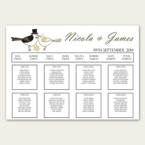 wedding thank you example wedding bride and groom love birds table plan landscape large