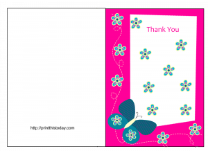 wedding thank you note templates butterfly baby shower pink and blue combined colors creative frame effect with foldable type thank you cards free printable