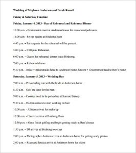 wedding timeline template wedding timeline editable word format