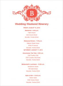 wedding weekend itinerary example wedding itinerary template download