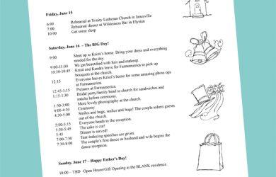 wedding weekend itinerary template sampleitineraryweb