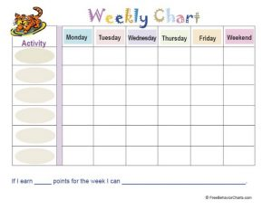 weekly behavior charts weekly chart