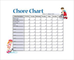 weekly chore chart template sample weekly chore chart template