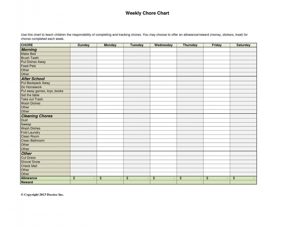 weekly chore chart template