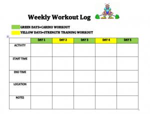 weekly food journal weekly workout log