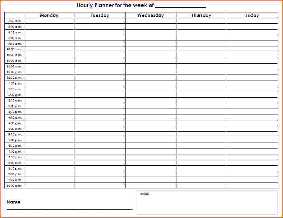 weekly hourly planner