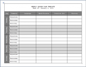 weekly lesson plan template lesson plan template updated