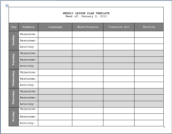 weekly lesson plan template