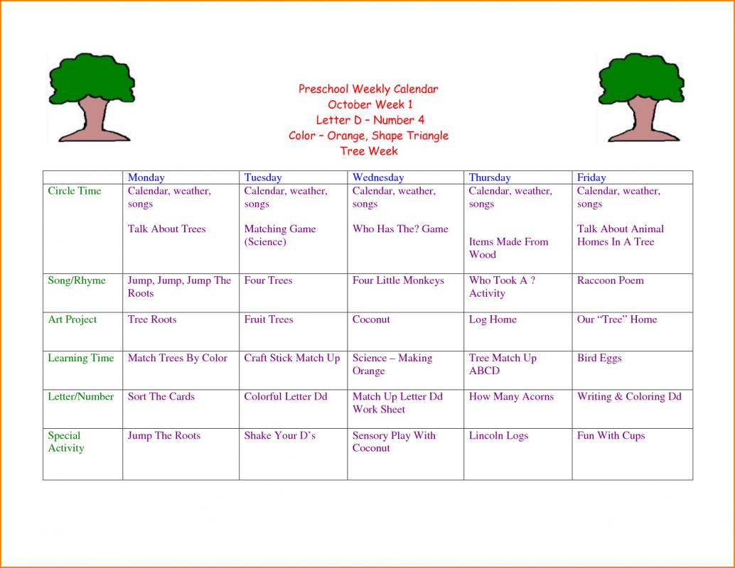 weekly lesson plan template word