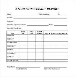 weekly progress report template business weekly report template for examining student progress