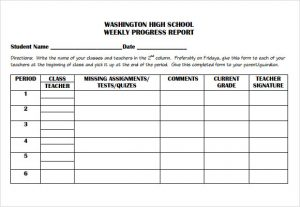 weekly progress report template weekly progress report template for elementary students