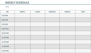 weekly schedule template word monday to friday weekly schedule template