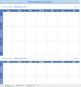 weekly schedule template word temp workschedulebiweekly