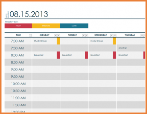 weekly update template daily schedule template lt