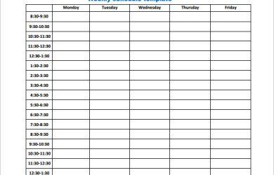 weekly work schedule template business weekly work schedule template pdf download