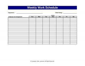 weekly work schedule template free weekly work schedule template