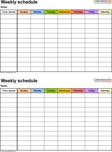 weekly work schedule template weekly work schedule