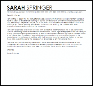 welcome letter template instructional aide