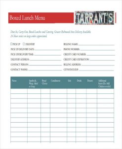 wholesale order form template order form for catering menu