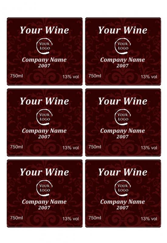 wine label template