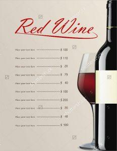 wine list template example red wine menu template