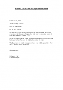 word certificate template sample certificate of employment letter