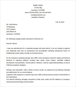word letter template marketing manager cover letter template free word doc download