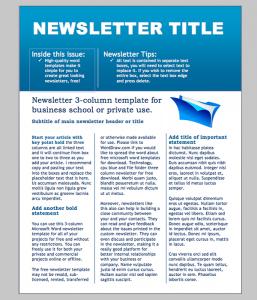 word newsletter template business newsletter template