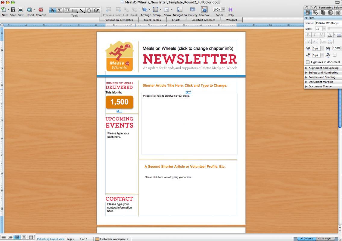 word newsletter template