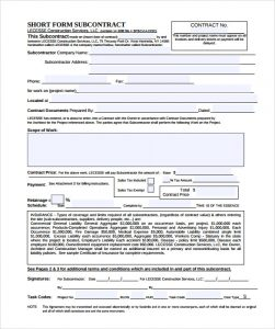 work contract template subcontractor contract template pdf