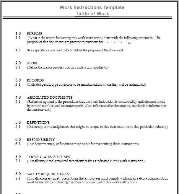 work instruction template