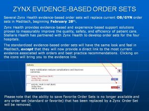 work order templates lhc zynx evidence based order sets