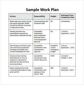work plan template example of work plan template