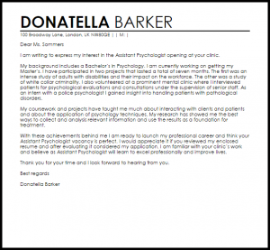 work recommendation letter assistant psychologist