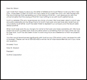 work recommendation letter cpa reference letter
