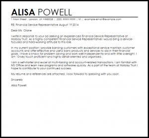 work recommendation letter financial service representative