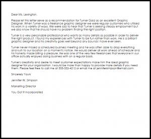 work recommendation letter graphic designer recommendation letter