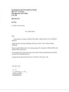 work recommendation letter letter markham montessori