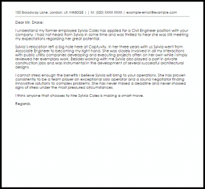 work reference letter civil engineer recommendation letter