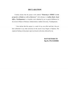 work reference letter financing to msme units andhra bank