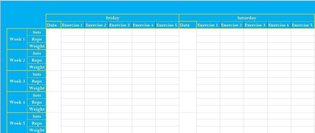 workout log excel