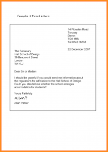 writing a formal letter example of formal letter writing proper letter writing formal letter format example