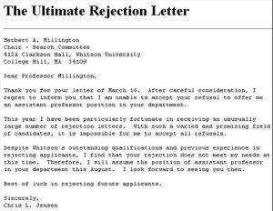 writing a letter of intrest rejectionletter
