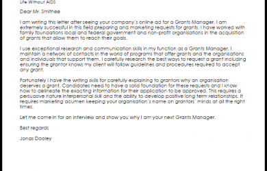 writing letters of recommendation grants manager