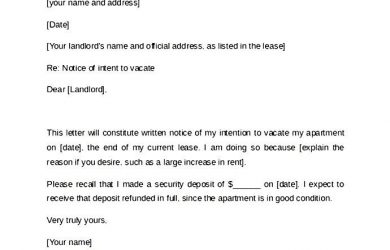 written notice to vacate example of day notice letter