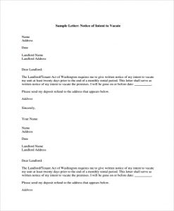 written notice to vacate notice letter of intent to vacate