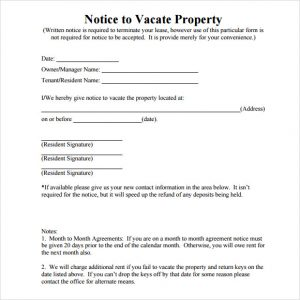 written notice to vacate notice to vacate property
