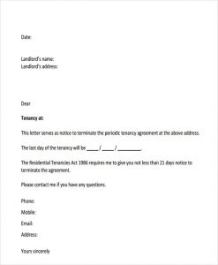 written notice to vacate tenant notice letter template